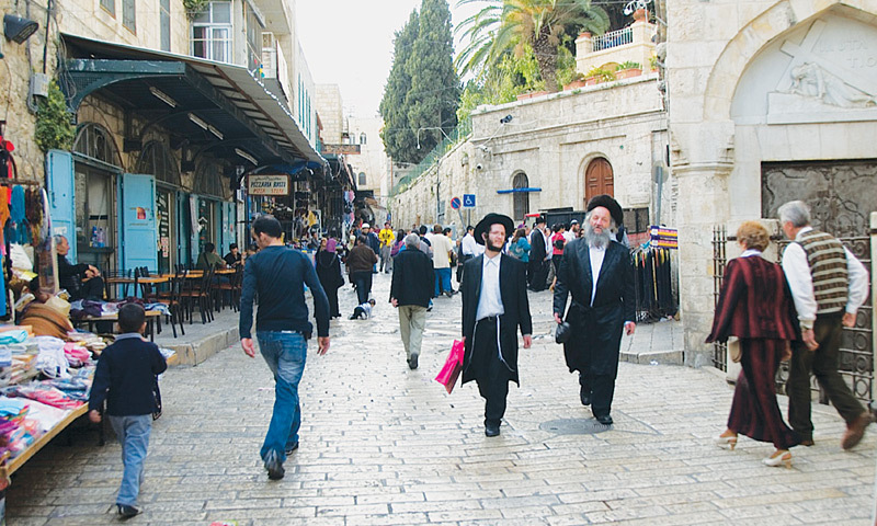 Orthodox Jews strolling in the Arab Quarter of Jerusalem. — Photos by the writer