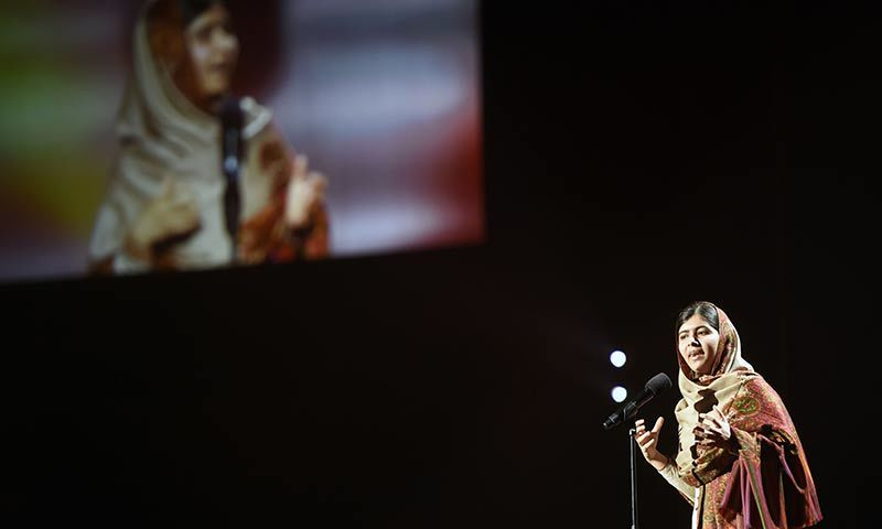Nobel Peace Prize laureate 2014 Malala Yousafzai speaks on stage at the Nobel Peace Prize Concert at the Oslo spectrum on December 11. — AFP