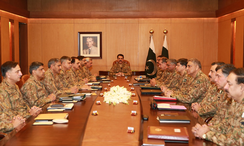Chief of Army Staff Gen Raheel Sharif chairs 177th Corps Commanders' Conference at GHQ in Rawalpindi. — ISPR