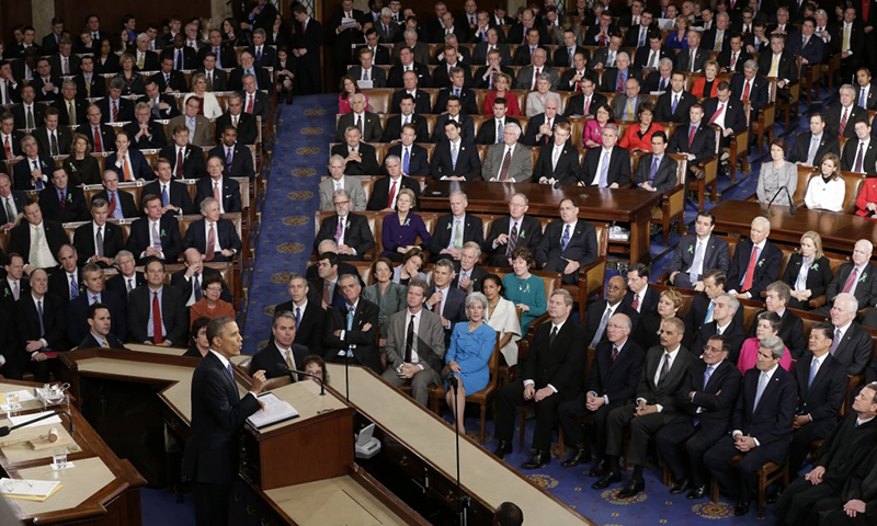 In this photo, US President Obama addressing a joint session of Congress in Washington. — AP/File