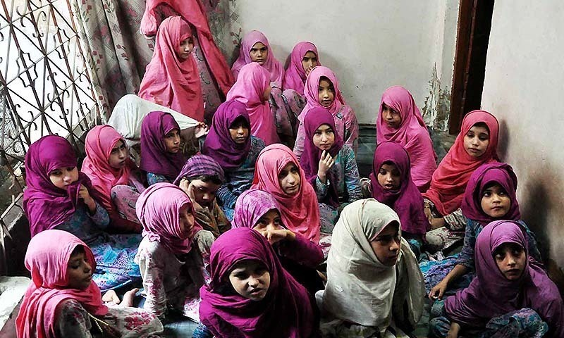 Girls after recovery are sitting for their registration before shifting to Darul Banaat child protection unit in Karachi. - PPI/file