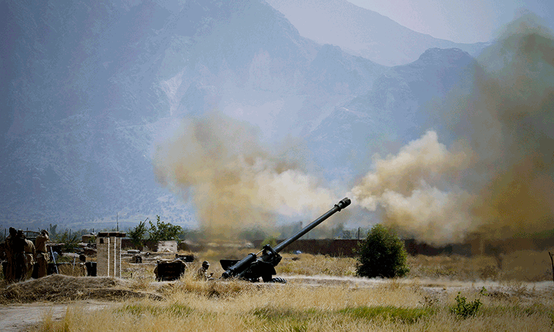 Pakistani troops fire heavy artillery toward alleged militants hideouts.  — AP