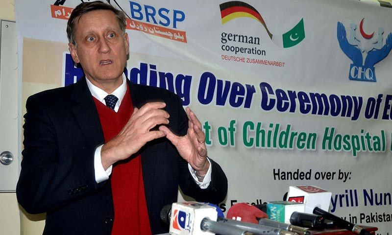German Ambassador to Pakistan, Dr Cyrill Nunn addressing office bearers of DHQ Hospital in Quetta. –PPI Image