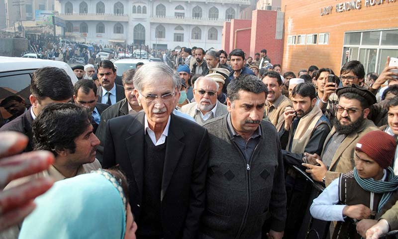 Khyber Pakhtunkhwa Chief Minister, Pervez Khattak at Lady reading Hospital to visit victims of the militant attack on Army Public School — PPI