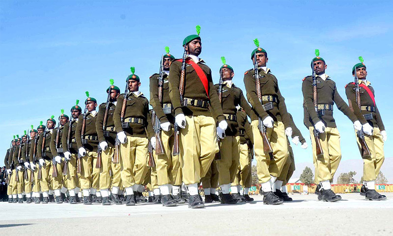 QUETTA: Recruits march during a passing out parade here on Tuesday.—APP