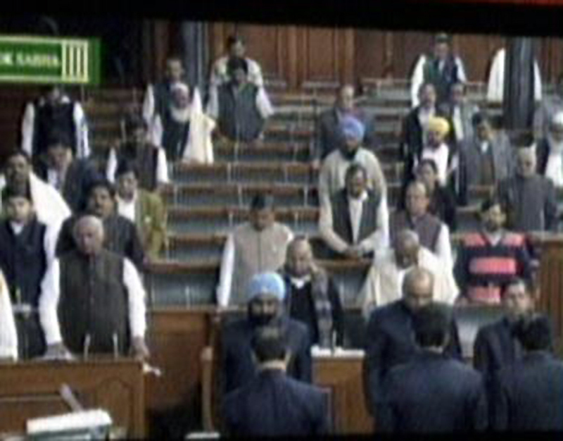 A screengrab from India's parliament. - DawnNews