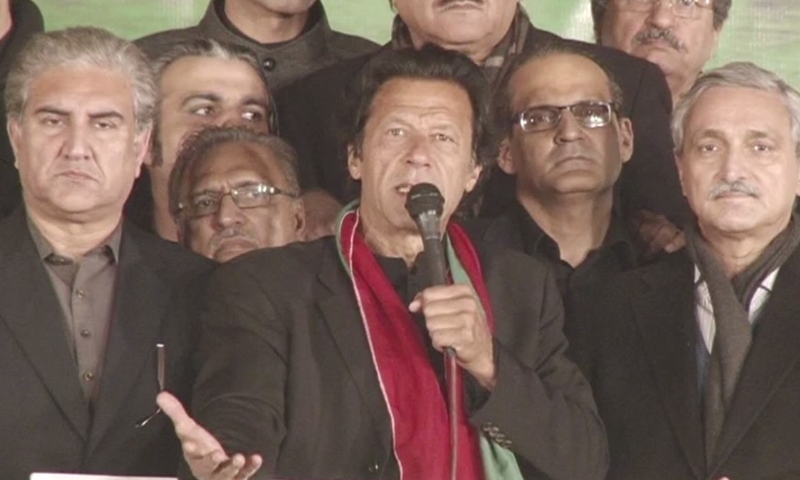Imran Khan addressing PTI supporters in Islamabad. -DawnNews Screengrab