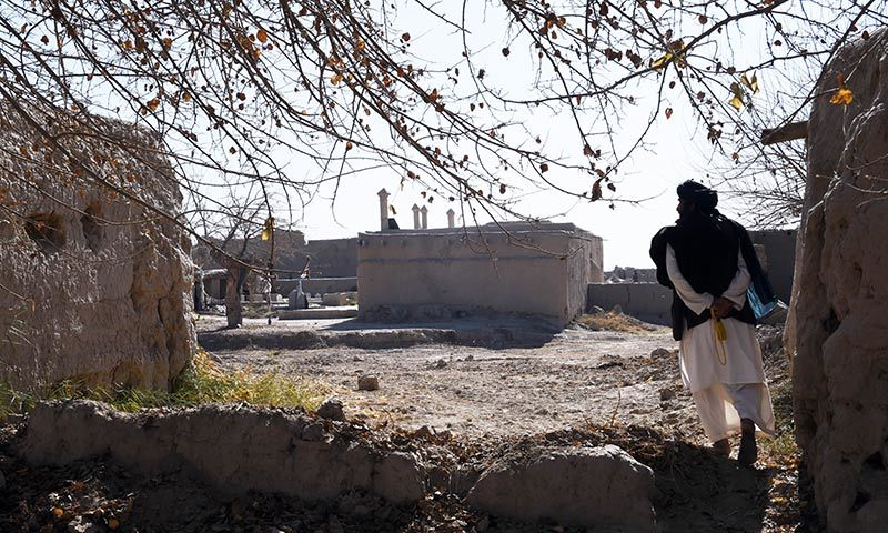 Bismillah, the current mullah at the mosque where Mullah Omar founded the Taliban movement 20 years ago, walks towards the mosque (C) in the village of Sangesar. — AFP