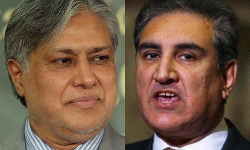 Chief negotiators from the govt and the PTI Ishaq Dar and Shah Mehmood Qureshi.—AFP/AP