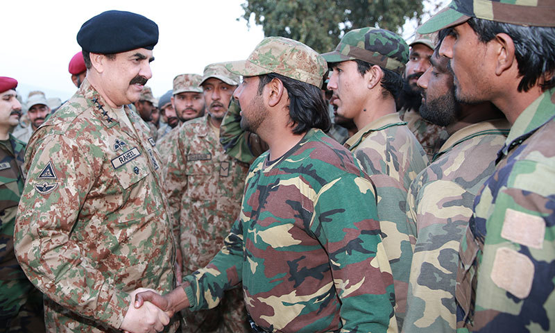 Army chief Gen Raheel Sharif shakes hands with a Pakistan Army soldier in Khyber Agency on Friday. – ISPR
