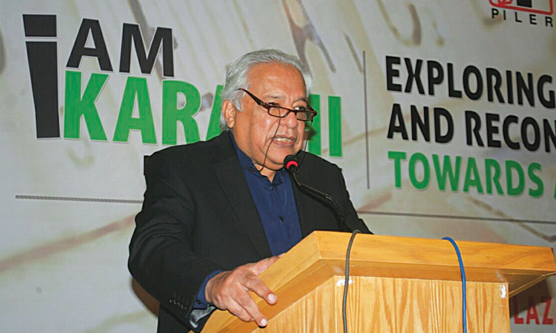 Urban planner Arif Hasan speaking at the conference.