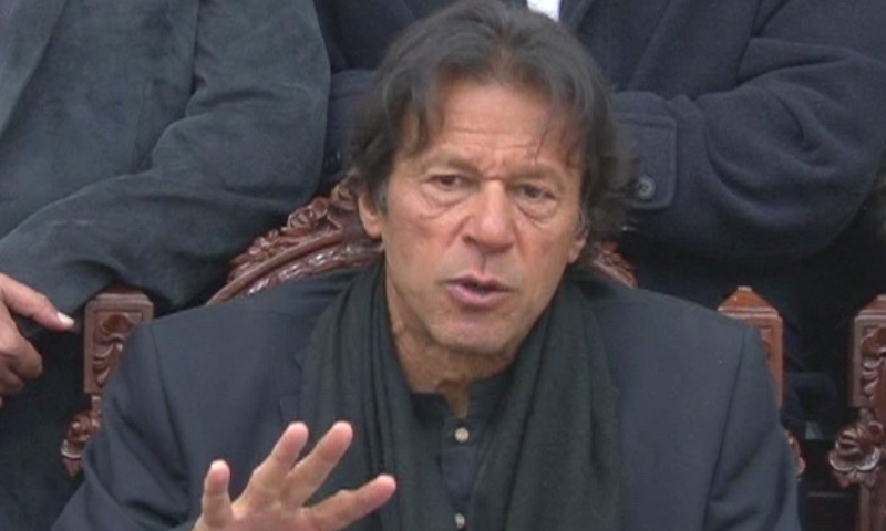 PTI Chairman Imran Khan addressing a press conference in Peshawar. — DawnNews screengrab