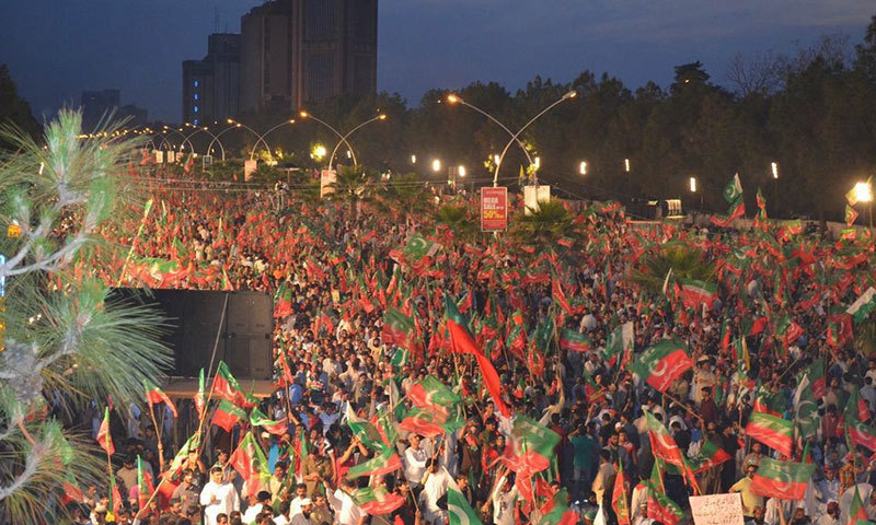 Photo shows thousands of PTI workers and supporters gathered at D-Chowk in Islamabad. -Photo by Irfan Haider