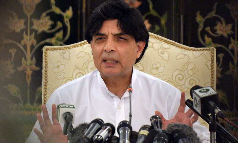 Pakistani Interior Minister Chaudhry Nisar speaks with media representatives during a news conference in Islamabad. – AFP/File
