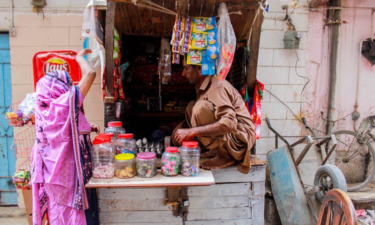 The streets are lined with small shops.— Umer Sheikh