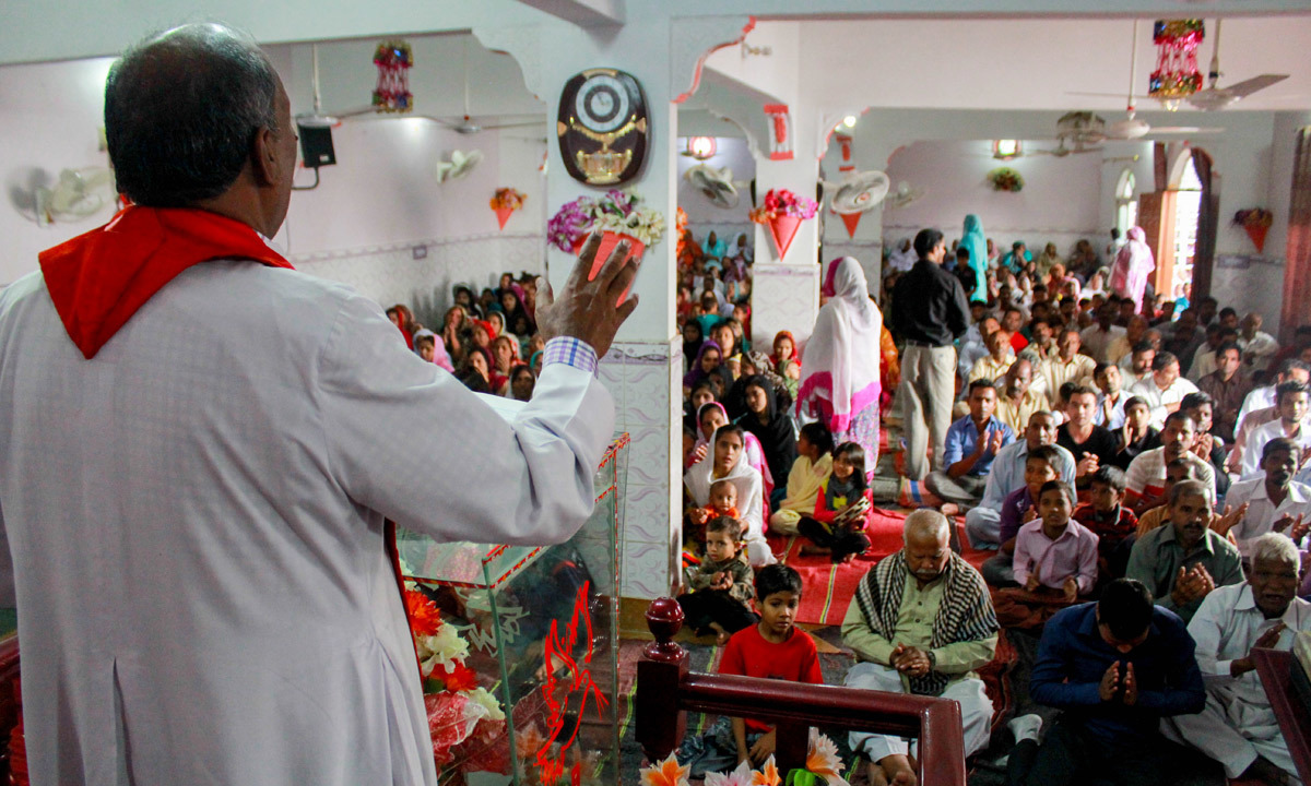 A pastor leads a sermon in one of the churches. — Affan Shah