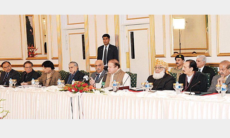 PRIME Minister Nawaz Sharif speaks at a meeting of parliamentary leaders on Wednesday.—APP