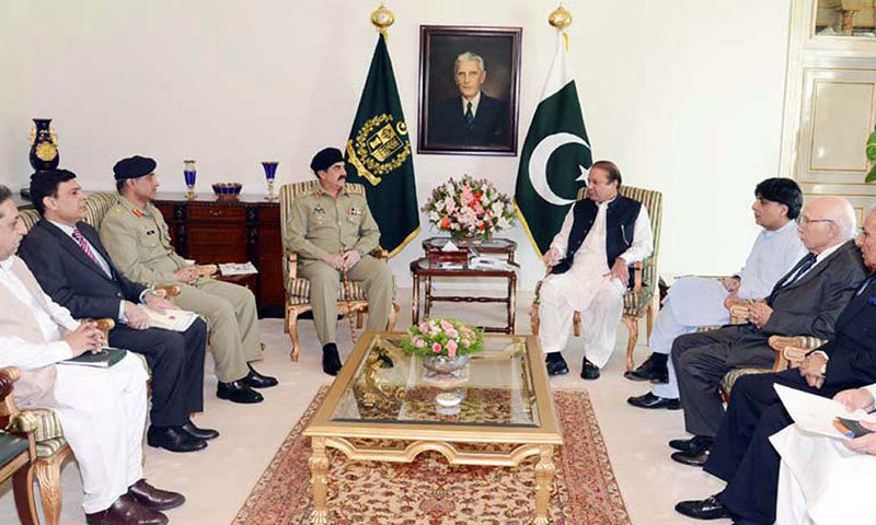Prime Minister Nawaz Sharif, COAS Raheel Sharif and others during a high level meeting.—APP/File