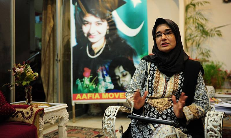 Fowzia Siddiqui, sister of Aafia Siddiqui, a Pakistani scientist who is currently serving a prison term in the US, gestures as she gives an interview to AFP at her home in Karachi. - AFP