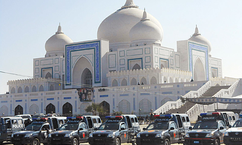 POLICE guard the Bhutto mausoleum in Garhi Khuda Bakhsh on Friday, the eve of the seventh death anniversary of the slain former prime minister Benazir Bhutto.—PPI