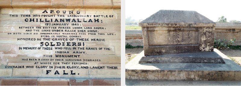 THE marble plaque on the battle monument. (L) A monument on the premises of Chillianwala battleground. (R)