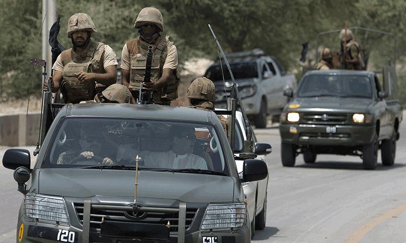 Pakistan army troops make their way to Bannu, Pakistan. — AP/File