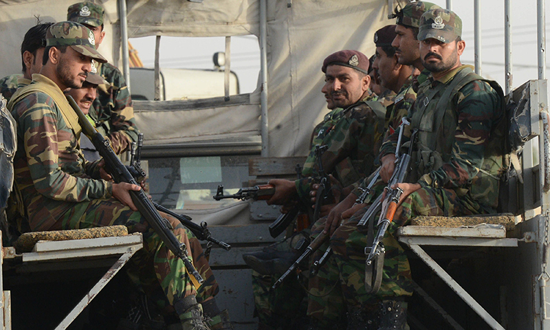 Security forces on patrol in Balochistan.— AFP/File