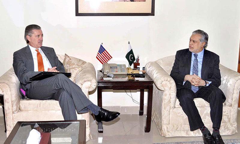 US Ambassador to Pakistan Richard G. Olson meeting Finance Minister Ishaq Dar in Islamabad. -APP Photo