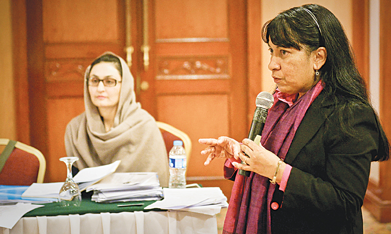 MAYA Ameratunga, representative of the United Nations High Commissioner for Refugees, speaks on the Afghan refugees issue on Monday.—White Star