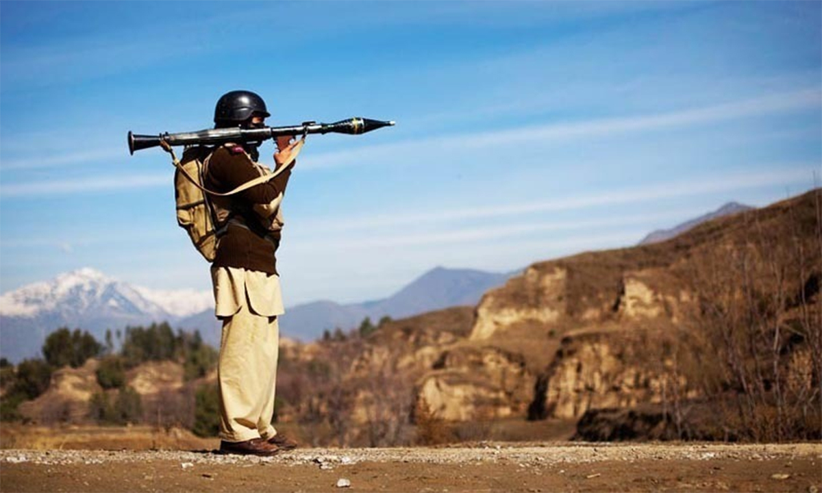 This file photo shows a Pakistani soldier holding a rocket launcher while securing a road in Federally Administered Tribal Areas (Fata). —Reuters.