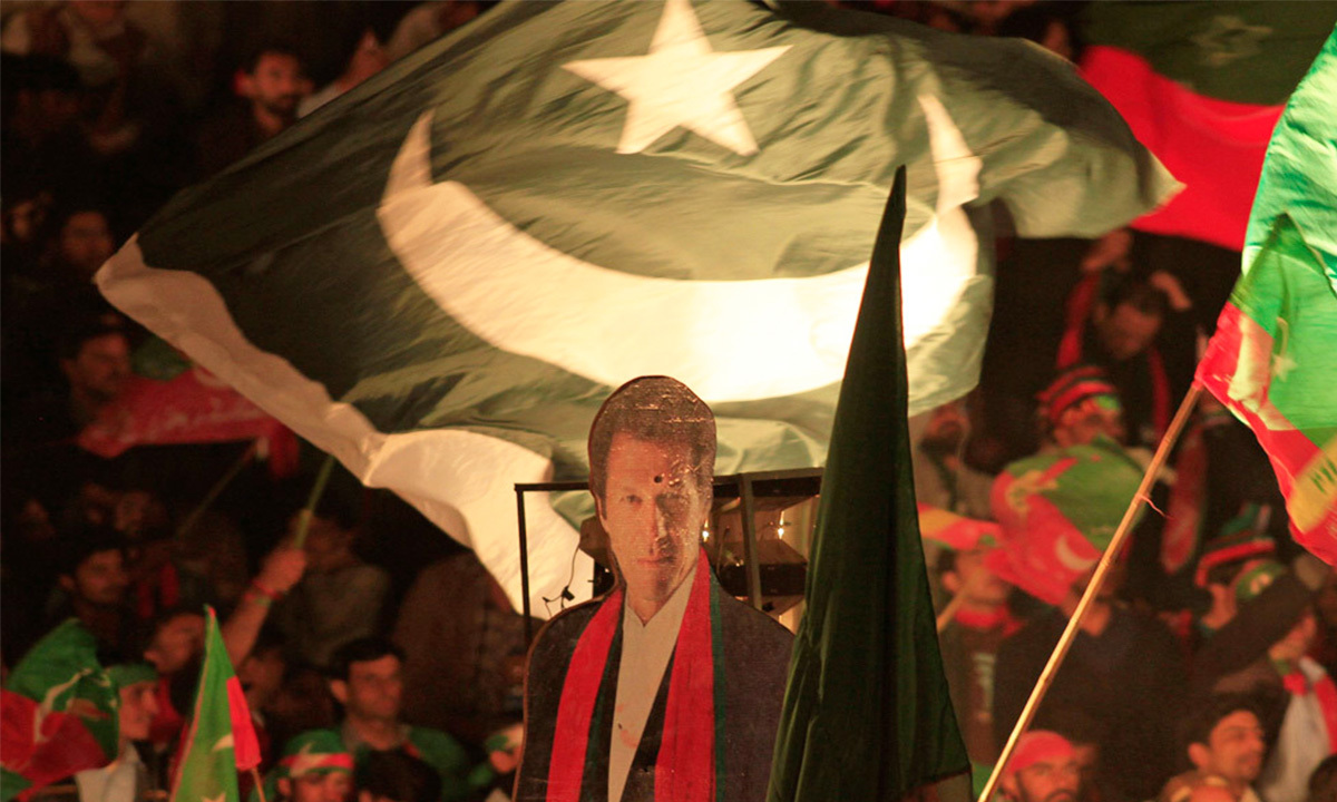 A cut-out picture of Imran Khan seen during an anti-government rally in Islamabad. —Reuters.