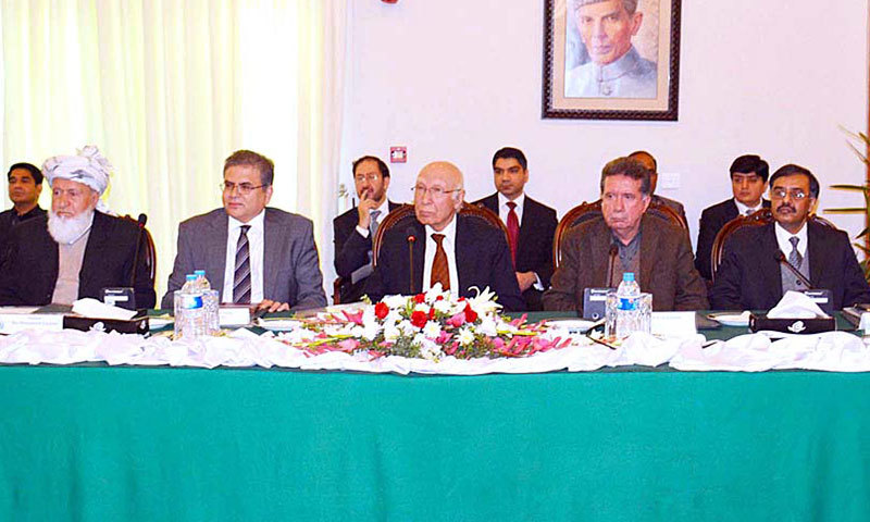 Advisor to the Prime Minister on National Security and Foreign Affairs, Sartaj Aziz attends a meeting with Afghan parliamentary delegation in Islamabad on Tuesday. – APP