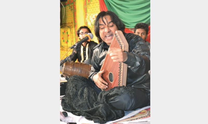 Ustaad Shafqat Ali Khan performing in Chakwal. —Dawn