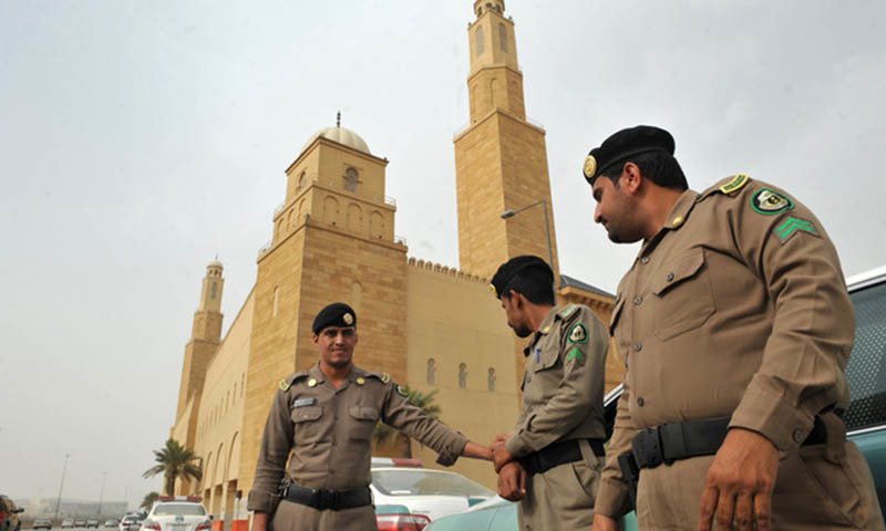 In this file photo, Saudi policemen stand guard.— AFP/File