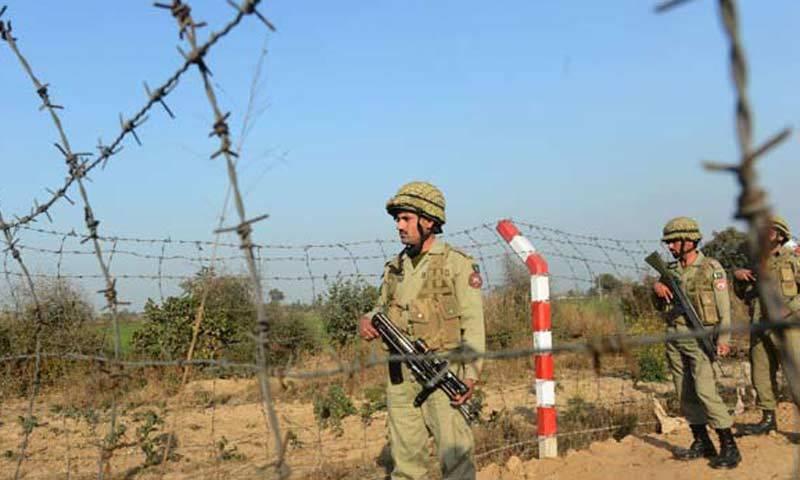 File photo shows Pakistani Rangers patrolling along the Pakistan-India border. —AFP/File