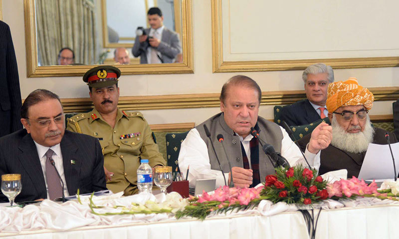 Prime Minister Nawaz Sharif addresses an All Parties Conference held at PM House in Islamabad on Friday, January 02, 2015. – PPI/File