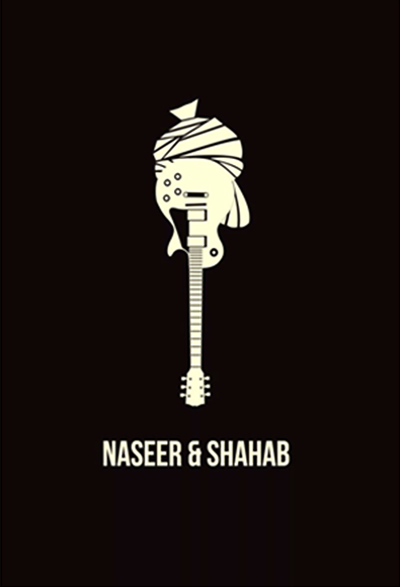 Naseer and Shahab's logo, as designed by Shahab Qamar in 2010. The logo consists of a Pakhtun turban atop an inverted electric guitar and speaks of the multiculturalism they're out there to promote. The duo draws its instrumental inspiration from their favourite Western bands as teenagers like Linkin Park and Coldplay.