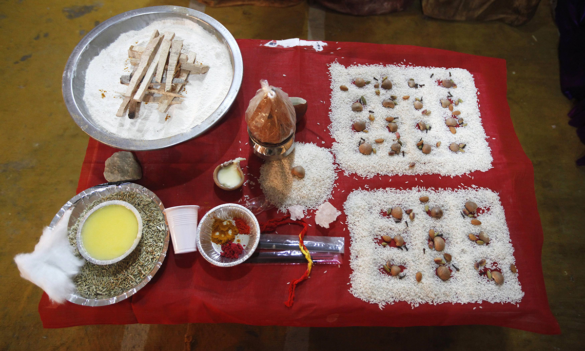 Materials to be used for marriage rites are displayed. — Reuters