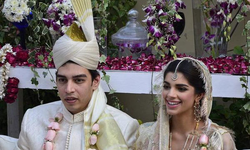 Sanam with her husband Farhan at their nikkah.