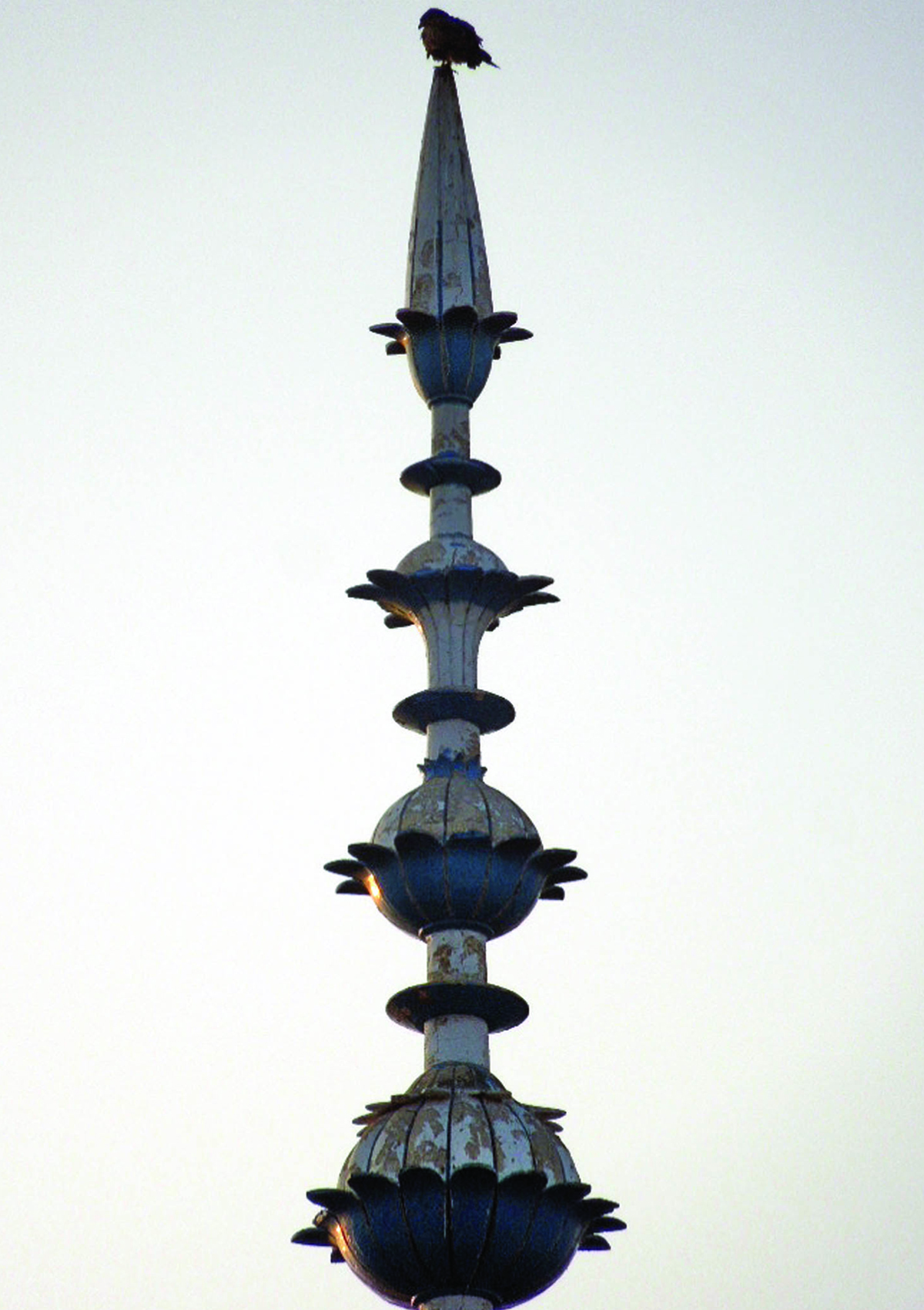 The spire at one of the domes of mosque