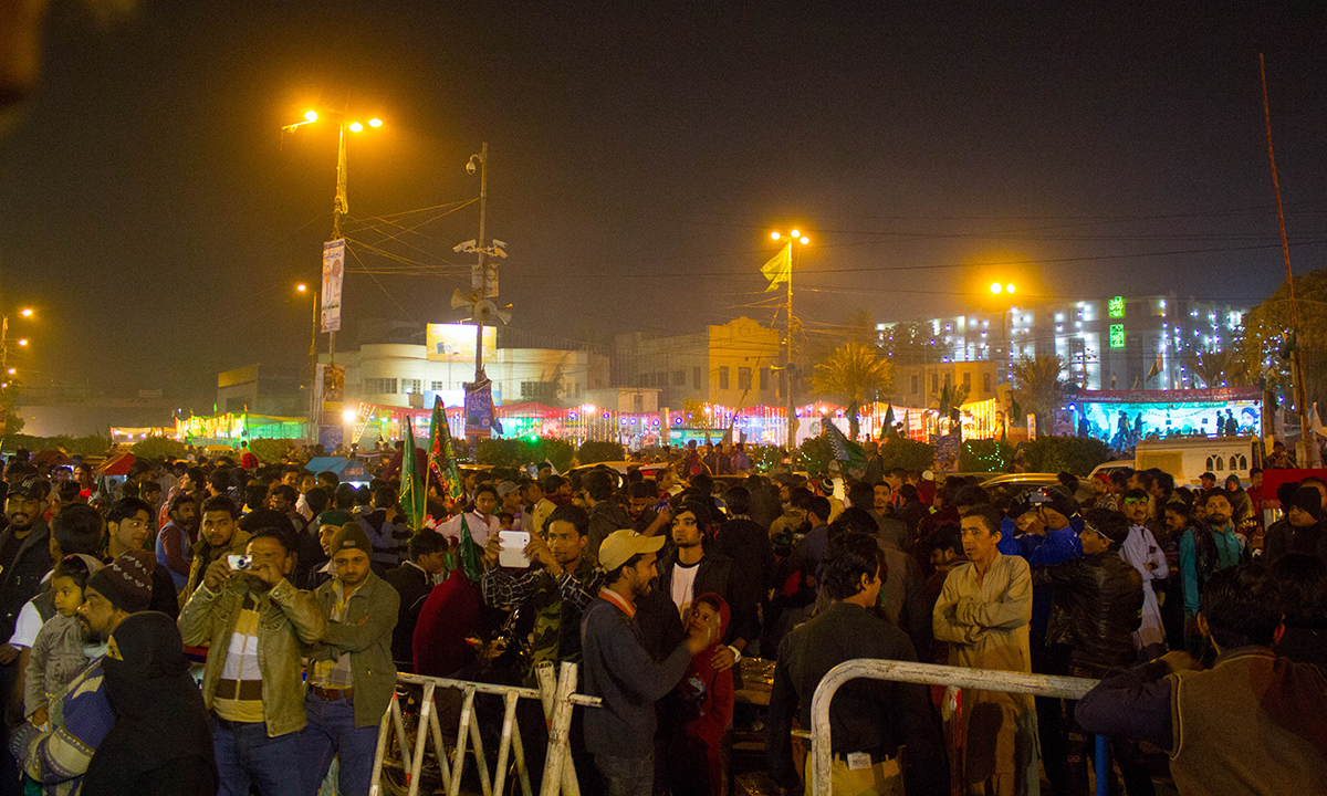 A crowd gathers at Numaish Chawrangi to participate in festivities on the occasion of 12th Rabi ul Awwal. — Muhammad Umar