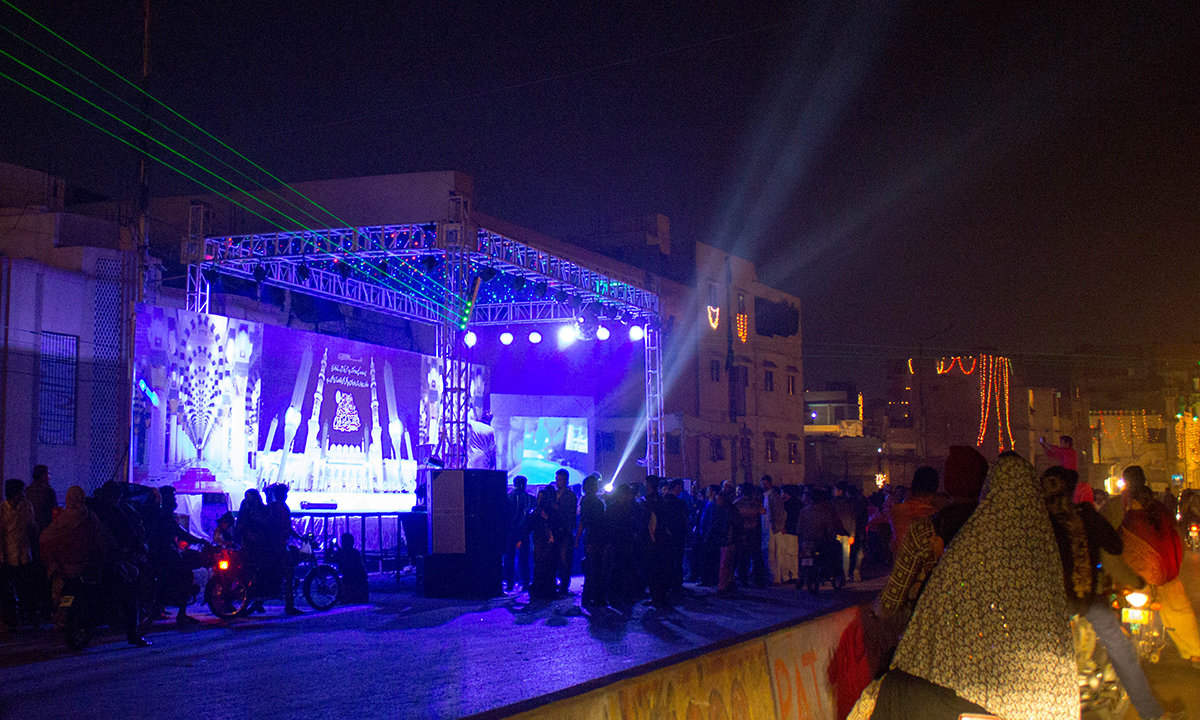 A stage is set up for Naat recitations at Lasbela. — Muhammad Umar
