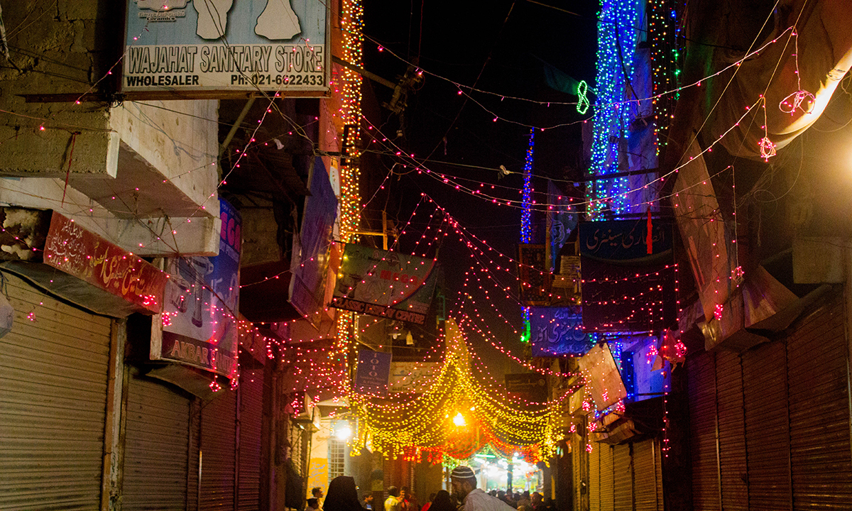 Buildings adorned with lighting to mark Rabi ul awwal. — Muhammad Umar