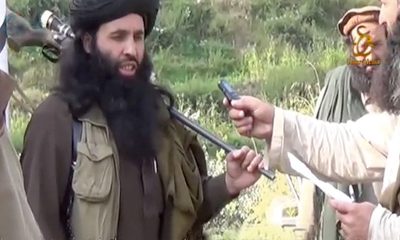 Undated photo taken from video by the TTP's Umar Media propaganda wing shows chief of the banned group Mullah Fazlullah.