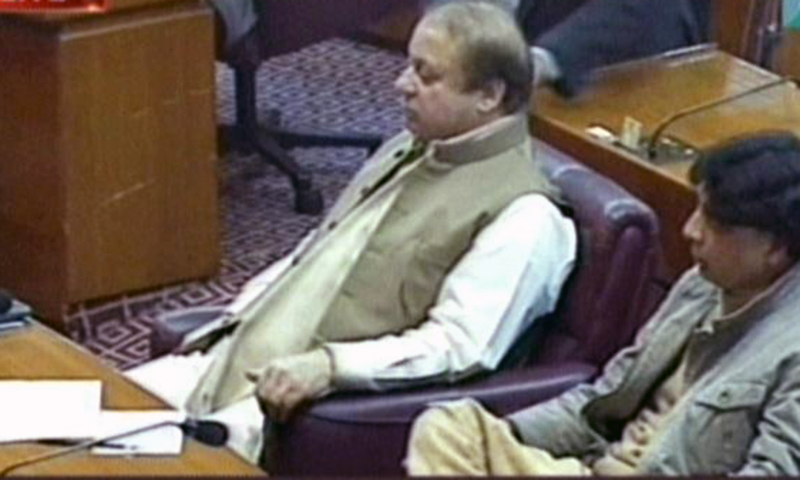 Prime Minister Nawaz Sharif attending the National Assembly session. — DawnNews screengrab
