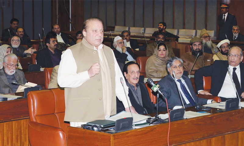 PRIME Minister Nawaz Sharif addressing the Senate session in this photo officially released on Tuesday.