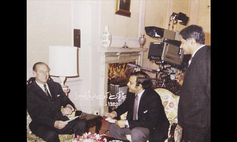 پی ٹی وی پر 1982 میں نشر ہونے والے ڈیوک آف اینڈیمبرا سے انٹرویو کی ایک تصویر