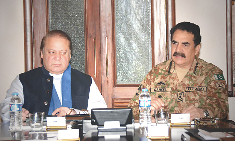 Prime Minister Nawaz Sharif and COAS General Raheel Sharif pictured at a meeting in GHQ.—Photo: PID/file