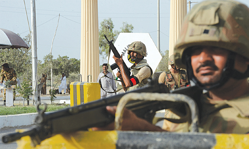 Army troops guard an entrance to the Malir Cantt in Karachi. – Agencies/file