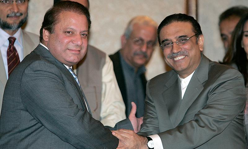 PM Nawaz Sharif and PPP co chairman Asif Ali Zardari.—AP/File